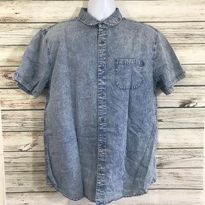Djab Blue Stonewash Button Front SHort Shirt